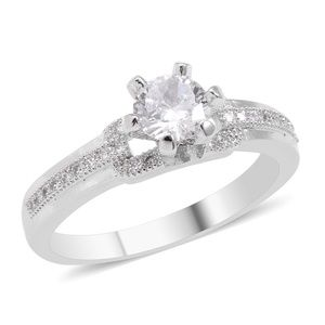 Simulated Diamond Silvertone Ring (Size 8.0)